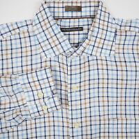Peter Millar Men's Size Large White Blue Long Sleeve Button Up Check Shirt