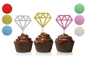 Glitter Diamond Cupcake Toppers, Wedding, Engagement, Bridal Shower, Hen Party