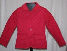 Pink Quilted Gap Kids Button Front Jacket Corduroy Collar Girl's Size Med (8)