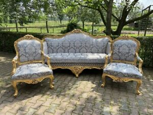 Handcrafted French Louis XVI Style Gold/Blue 3-Piece Set - Sofa and Two Chairs
