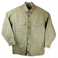 Woolrich Mens Heavy Cotton Long Sleeve Button Down Shirt Canvas Khaki Size Large