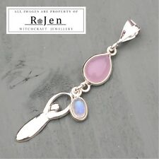 925 Argento Sterling DEA e rosa calcedonio, Rainbow Moonstone Ciondolo Pagano
