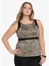 TORRID womens 2X 18-20 Top Empire waist Leopard Peplum Spandex lined Cutout Plus