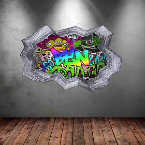 WALL ART STICKER PERSONALISED 3D GRAFFITI NAME FULL COLOUR DECAL MURAL WSD131