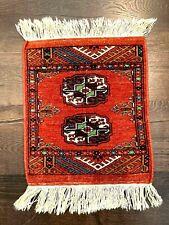 Double Medallion Small Wool Rug Prayer Dollhouse 19 1/2� x 12 1/2� Fringe