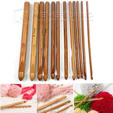 12 Stück Bambus Häkelnadel Set Nagelset Nadel Häkeln Stricknadeln Stärke 3-10mm