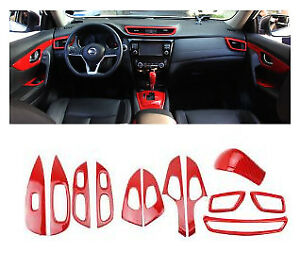 Red Carbon Fiber Look Car interior Kit Trim Cover 12X For Nissan Rogue 2014-2020
