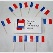 Hors d'oeuvre' Picks - French Flag on wood pick - Box of 100 - Bon Appetit!