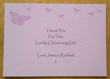 5 CHRISTENING BAPTISM NAMING THANK YOU CARDS PERSONALISED BUTTERFLIES PINK BL