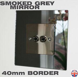Light Switch Back Plate - SMOKED GREY MIRROR 40mm BORDER - Stunning Finish