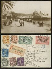 FRANCE REGISTERED POSTCARD 1923 PPC RP NICE GARE 8 stamps FRANKING to CZECH