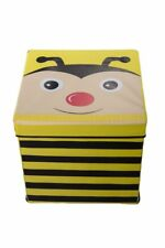 Kids Bee Collapsible Toy Box Storage Book Organizer Cushion Top Bench Ottoman