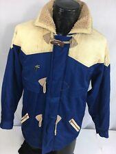 Vtg 60 70's London Fog Blue Cowboy Parka Coat Hooded Western Rancher Jacket S