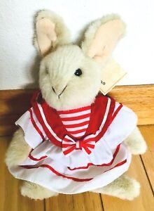 "Russ Apple Valley 9"" Plush Cream Bunny in Sailor Dress ~ NEW!"