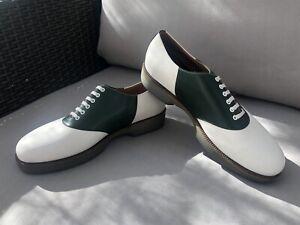 NWOT $695 Salvatore Ferragamo Ricky Leather Oxford Shoes Green/White Sz 8 2E