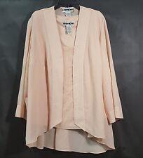 Dana Kay Size 24W 2 Pc Shirt Tank Set Peach Sparkle Open Front Shirt Tank Party