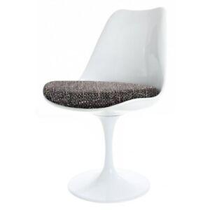 Eero Saarinen White Tulip Style Swivel Side Chair - With Grey Textured Cushion