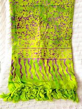 BATIK Hand Printed Cotton Pareo in Vibrant Chartreuse and Violet