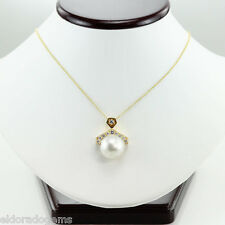 HIGH END ART DECO 1.25 CT. DIAMOND SOUTH SEA PEARL PENDANT NECKLACE 18K GOLD 16""