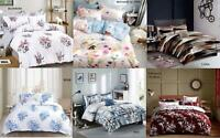 Printed Duvet Cover Pillow Cases Quilt Bedding Set Single Double King