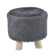 [en.casa] Taburete Gris Piel artificial Tapizado de baño Acolchado