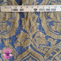 Home Decor Textured Raised Print Blue Tan Heavy Upholstery Fabric by the Yard