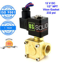 "U. S. Solid 1/2"" Brass Electric Solenoid Valve 12V DC Normally Closed Air Water"