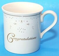 Lenox Cup Mug Congratulations Ivory White Fine China Gold Accents Mint EUC