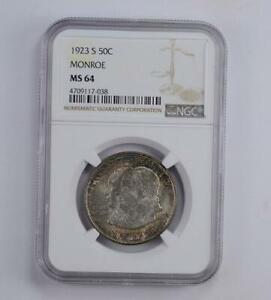 1923-S Monroe / Quincy Adams Commemorative Half Dollar MS64 NGC **Toned**