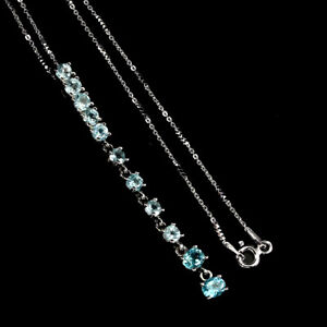 Oval Neon Blue Apatite 14K White Gold Plate 925 Sterling Silver Necklace 16 Ins