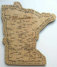 Minnesota State Shaped Road Map Cribbage Board Two Track