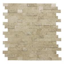Peel and Stick Classic Linear Brown Stone Mosaic Tile Backsplash Kitchen MTO0217