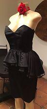 Vintage Exposed Black Petelum 80's Dress,Prom,material Girl USA 7/8