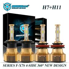 Combo 4Sides H7 H11 LED Headlight Bulbs Kit 5000W 750000LM High Low Beam 6000K