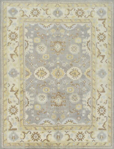 Oushak 9'x12' Grey Wool Hand-Knotted Oriental Rug