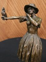 Lady With Chiparus Flapper Dancer & Parrot Bird Macaw Bronze Statue Lost Wax Art
