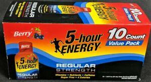 5-Hour Energy Regular Strength 10-Count Value Berry Sugar Free 1.93 oz Exp 11/21