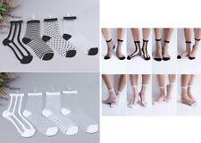 NEW Womeng Girl's  Dot Stripe Street Snap Short Socks Transparent Stockings