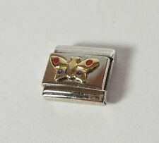 Butterfly Italian 9mm Bracelet Charm Enameled Stainless Steel Gold Red Blue