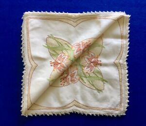 Vintage Hand Embroidered Crocheted Floral Linen Supper Cloth - 84cm x 84cm