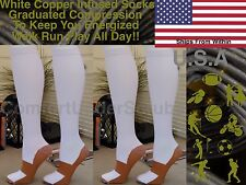Copper Infused Graduated Compression Knee High Sporty White Miracle Socks