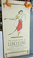 Vintage Elizabeth O Hiller CALENDAR OF LUNCHEONS, P.F. Volland Co Teens-1920s
