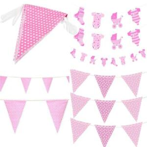 Baby Shower Bunting Girls Pink Hanging Decoration Banners Indoor Party Supplies