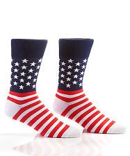 Yo Sox Men's Crew Socks Stars and Stripes American Flag Design Fits Men's 7-12