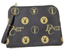 Rare HTF Vintage Black & Gold Playboy Bunny Bag Purse Zipper Pouch Makeup Bag