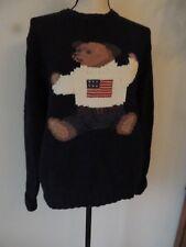 Vintage Ralph Lauren Handknit  Blue Bear Sweater with USA Flag Size Sm