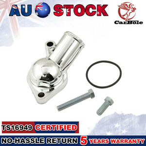 SBC BBC Chrome Water Neck Thermostat Housing Outlet Fit Chevy 45 Degree 350-454