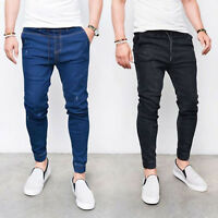 Men Harem Elastic Waist Skinny Jeans Jogger Stretchy Denim Pants Casual Trousers