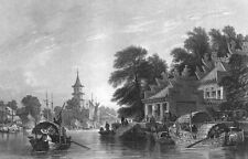 China, CANTON GUANGZHOU PAGODA HOUSE ARCHITECTURE ~ Old 1842 Art Print Engraving
