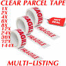 "FRAGILE PRINTED STRONG PARCEL TAPE MULTILISTING 12 6 24 36 48mm 66m BOX 2"" 72"